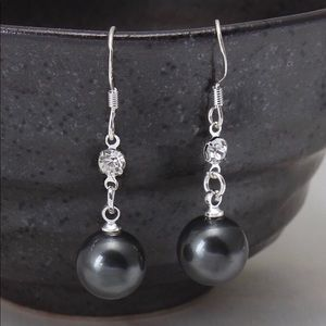 925 Silver Swarovski Black Pearl Earrings NWT